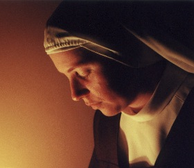 nun in contemplation